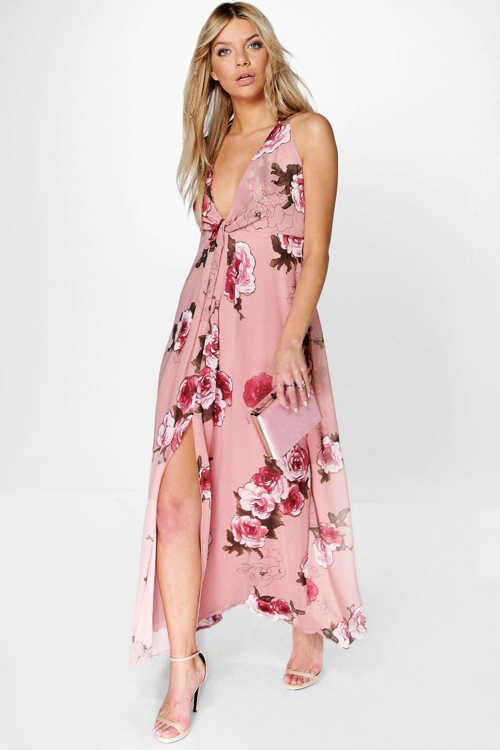Women\'s Amabel Floral Chiffon Knot Front Maxi Dress