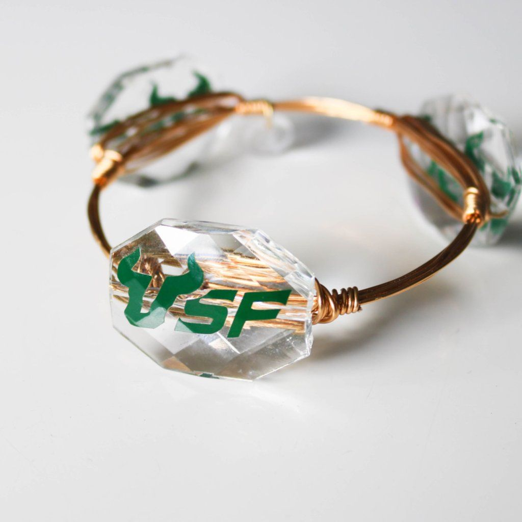 Bangle USF Bead-University of South Florida Bulls-Gold Wire. Can order CUSTOM school or sorority.