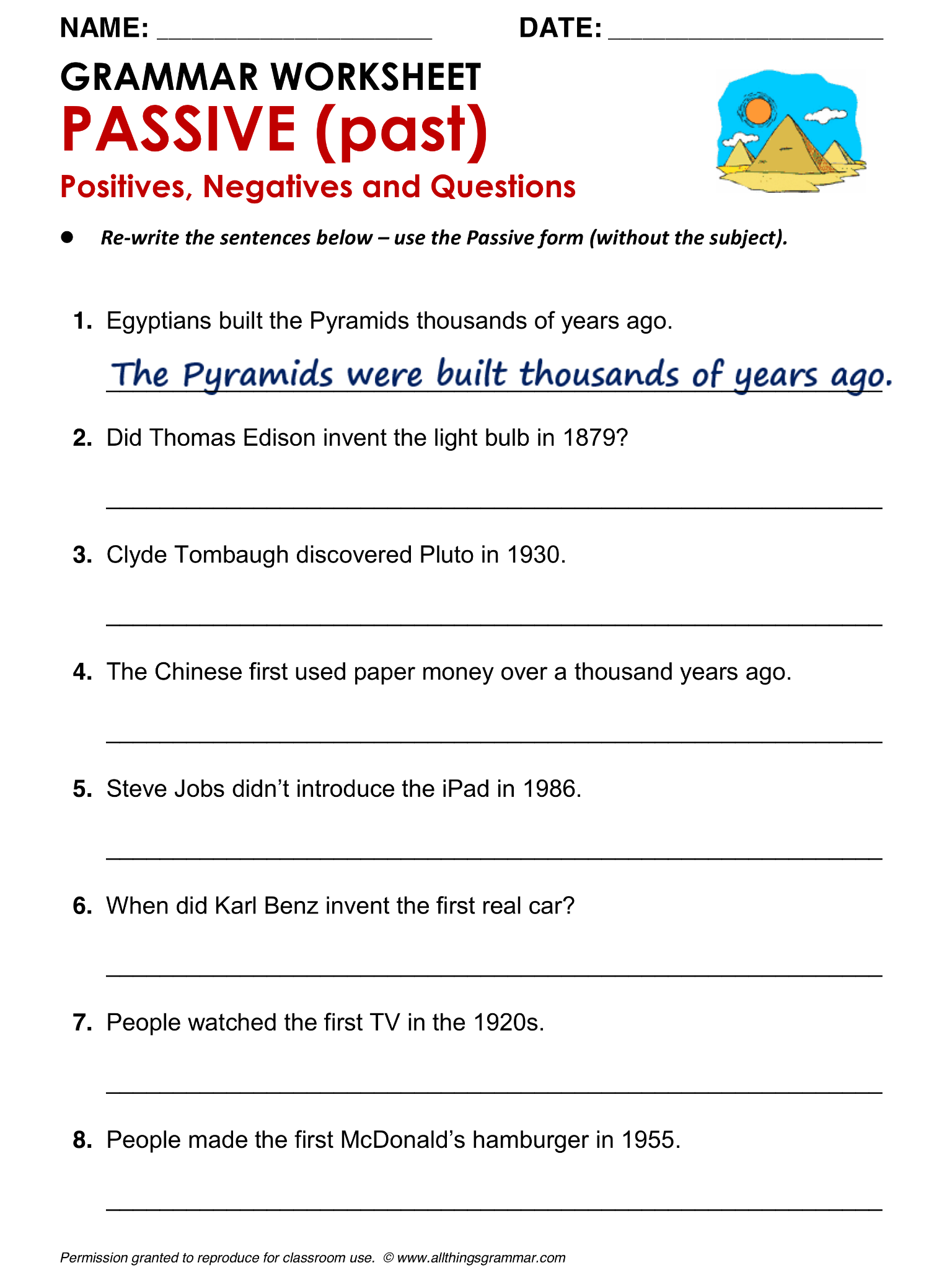 English Grammar Worksheet, PASSIVE (past) Positives, Negatives and ...
