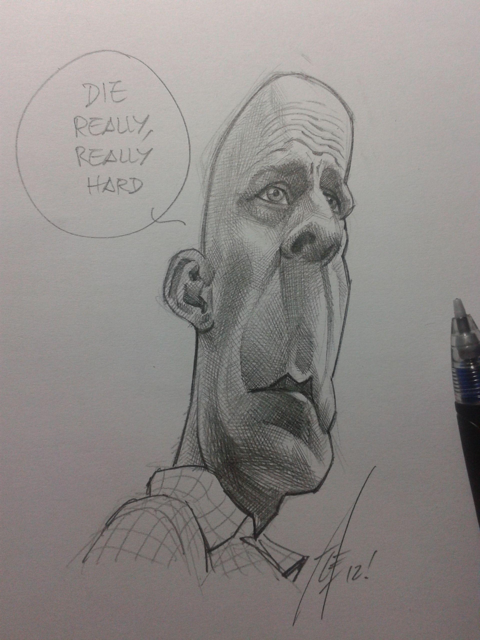 Diehard5 brucewillis caricature caricatura pencil drawing