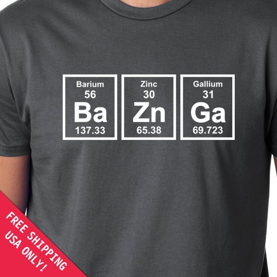 Baznga Periodic Table Mens Womens T Shirt Chemical Elements Shirt