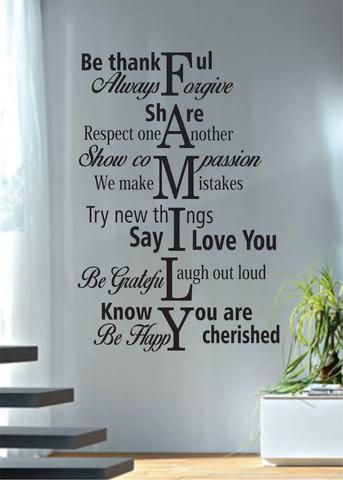 Photo of Family Rules Quote Decal Sticker Wall Vinyl Decor Art