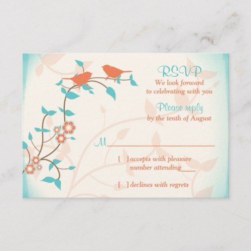 Turquoise Coral Birds Leaves Wedding RSVP Reply | Zazzle.com #turquoisecoralweddings