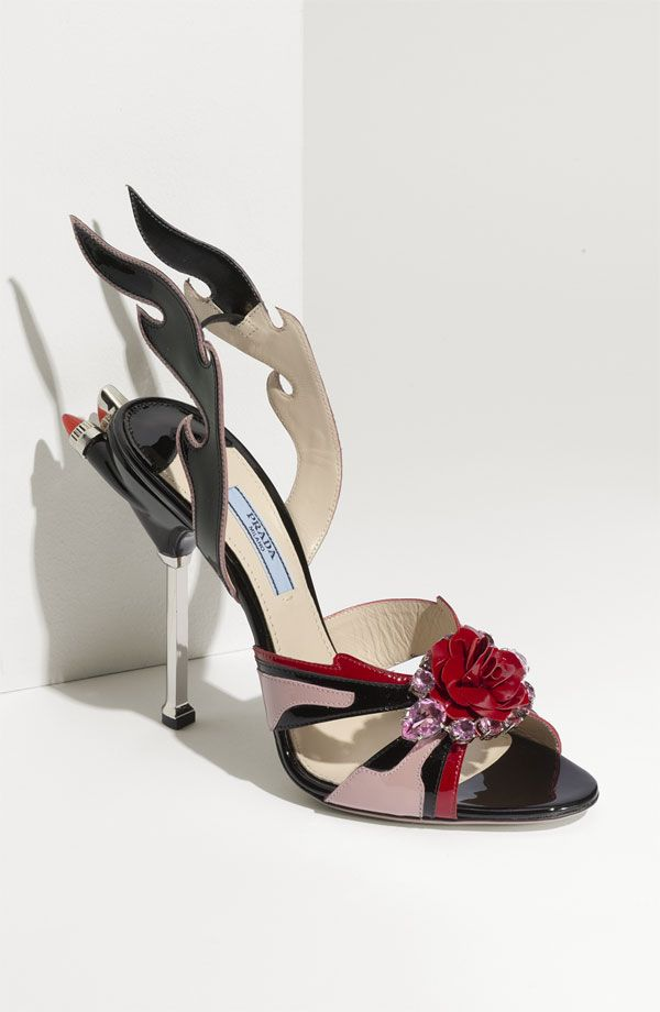 Prada 'Tail Light Flame' Sandal   Crazy shoes, Prada shoes
