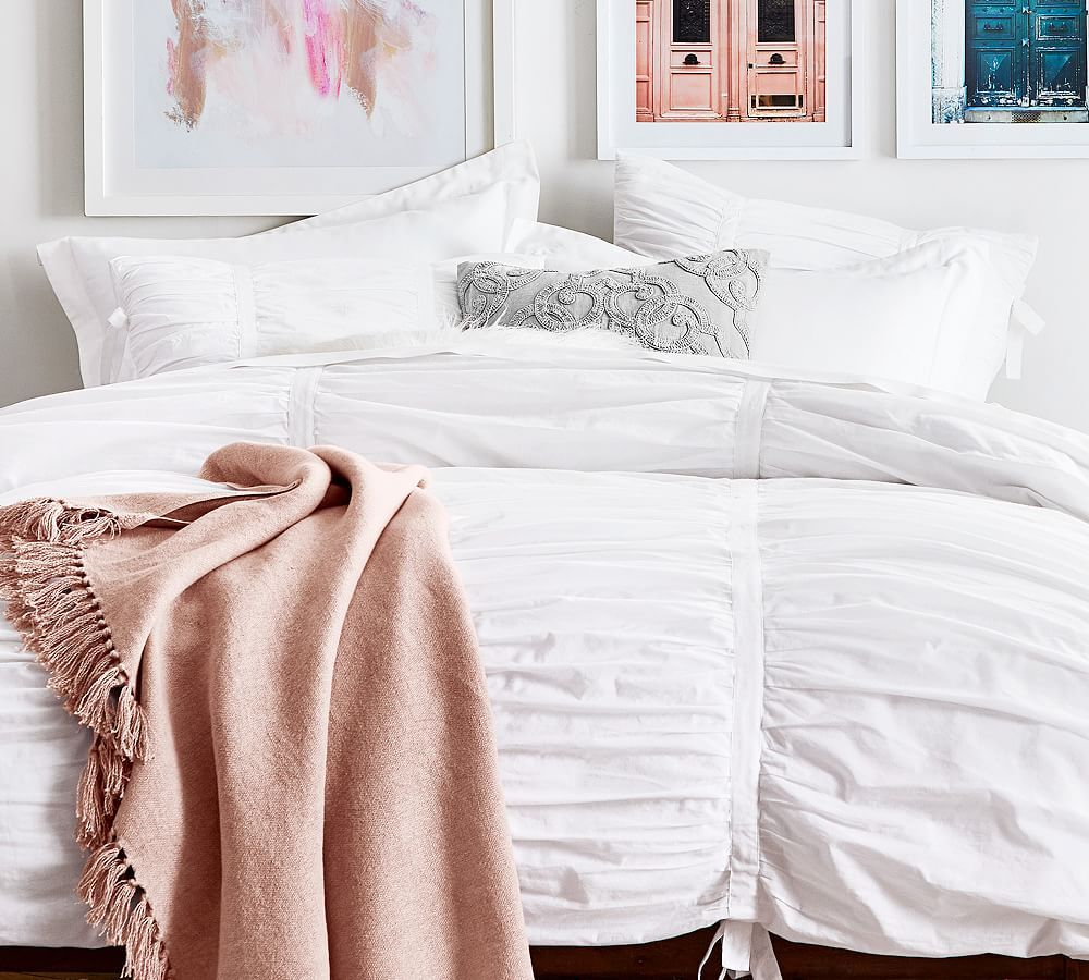 Hadley Ruched Duvet Cover King Cal King White At Pottery Barn