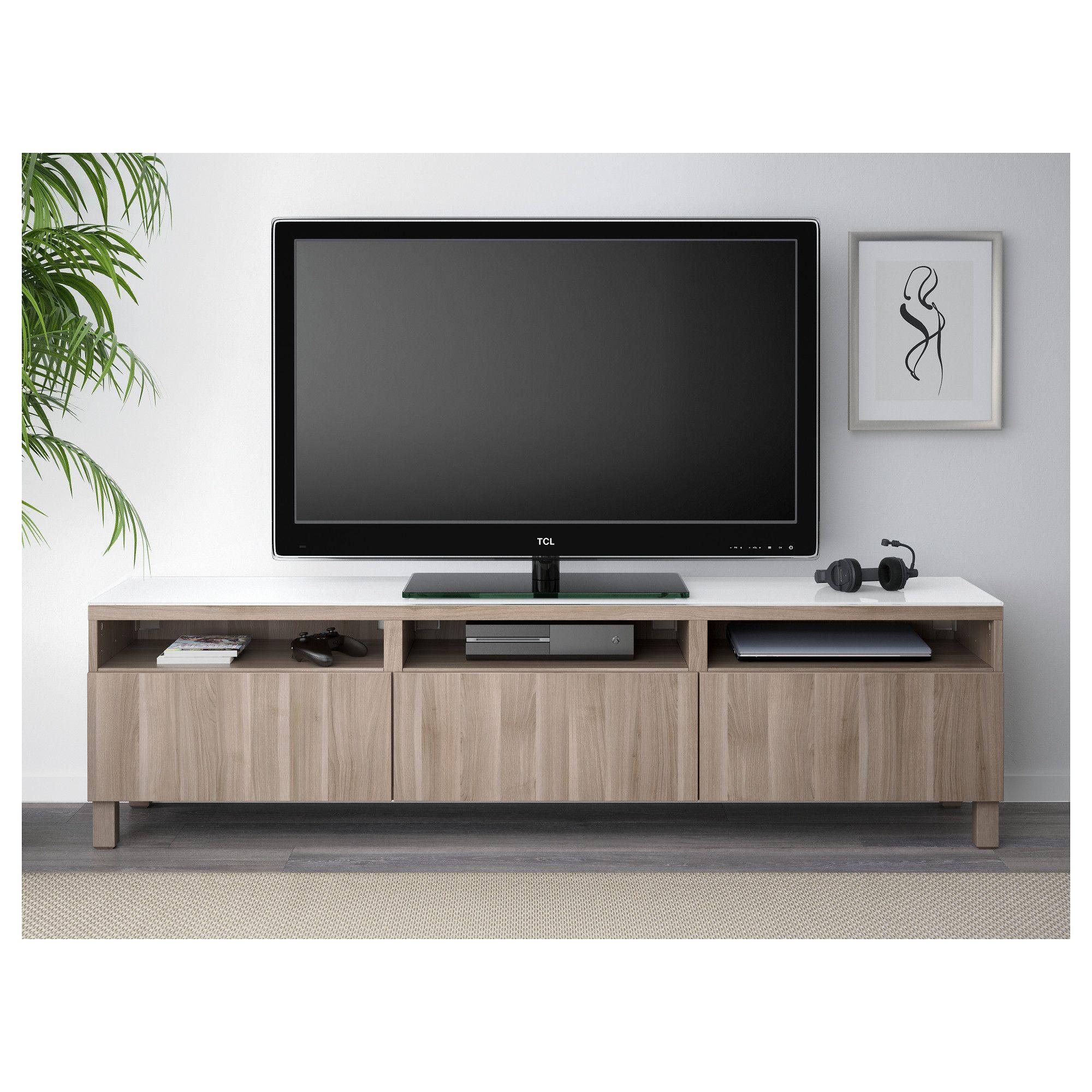 Meuble Ikea Besta Blanc bestÅ tv unit with drawers - lappviken gray stained walnut