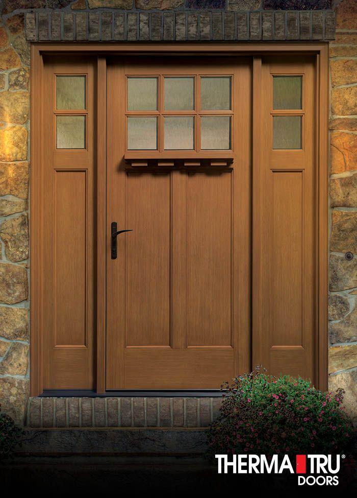 2 Panel Craftsman Style Fiberglass Exterior Door Therma Tru Fiberglass Exterior Doors Exterior Doors Entry Doors