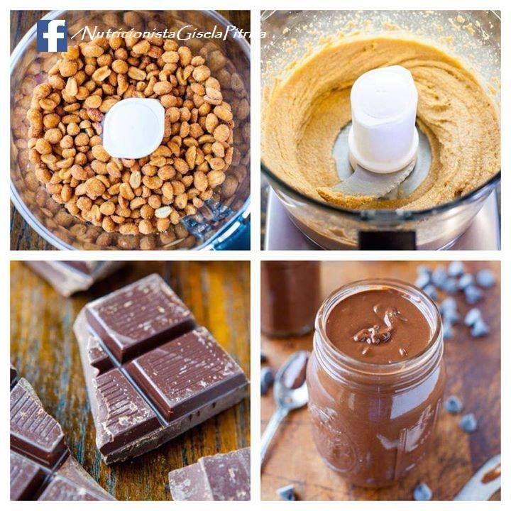 Mantequilla de maní y chocolate  Ingredientes:  - 1 taza de maní (cacahuates) tostados sin sal o almendras tostadas sin sal - 1 cucharadita de esencia de vainilla (opcional) - 1/2 taza de chocolate semidulce #vegano - 1 cucharadita de aceite (opcional) para una consistencia cremosa - Procesador de alta potencia  Preparación:  - Procesar el maní hasta tener una consistencia cremosa.  - Añadir el aceite, la esencia y el chocolate picado en trozos y procesar hasta tener la consistencia deseada