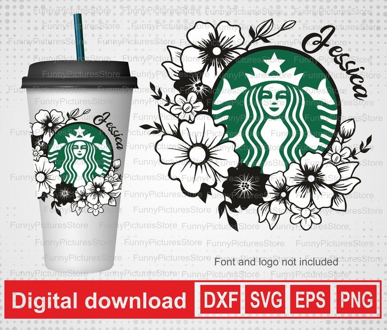 Flower Frame To Personalize Your Starbucks Glass Personalized Starbucks Svg Floral Design Svg Starbucks Vector Cricut Glass Sticker Svg In 2020 Flower Frame Sticker Template Cricut