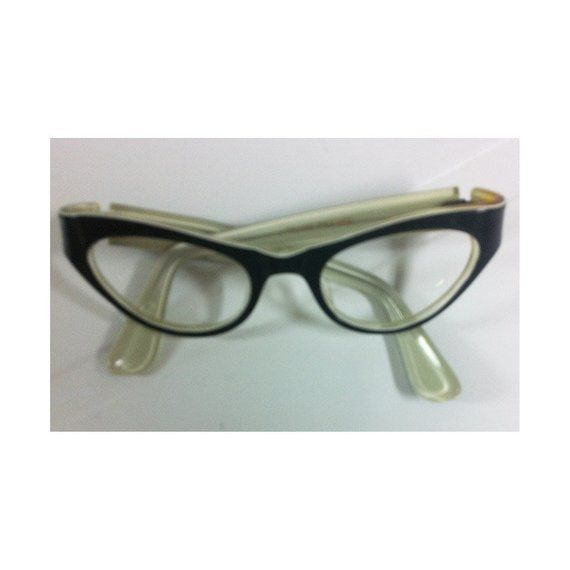0e638a3c48 Vintage 1950s Cat Eye Glass Frames Black Plastic with White Interior and  Edges No Lenses Frames France for Decoration Wall Art Display