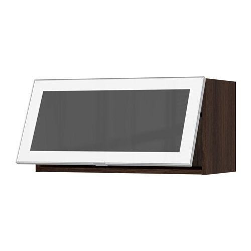 Sektion Horizontal Wall Cabinetglass Door Wood Effect Brown