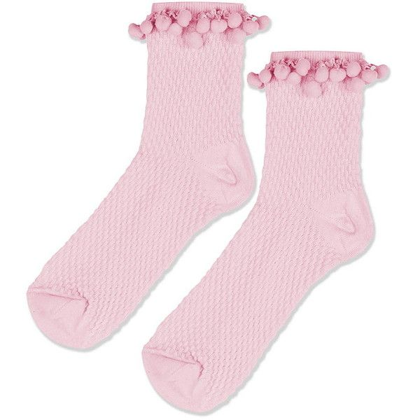 Topshop Pom Pom Trim Ankle Socks 5 04 Liked On Polyvore Featuring Intimates Hosiery Socks Pink Topshop Socks Ankle Socks Cotton Ankle Socks