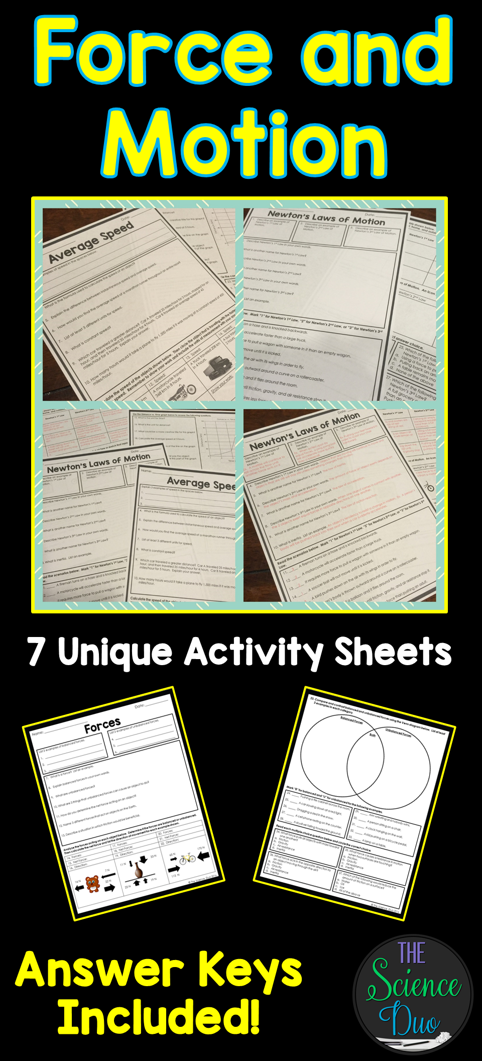 This Resource Contains 7 Unique Activity Sheets Covering A Variety Of Force And Motion Concepts Topics Included Average Speed Calculating Work