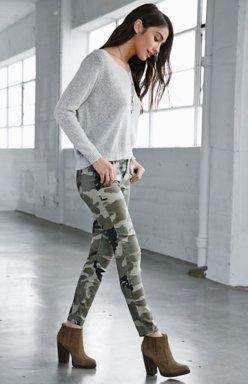 Camo Ripped Mid Rise Skinny Jeans