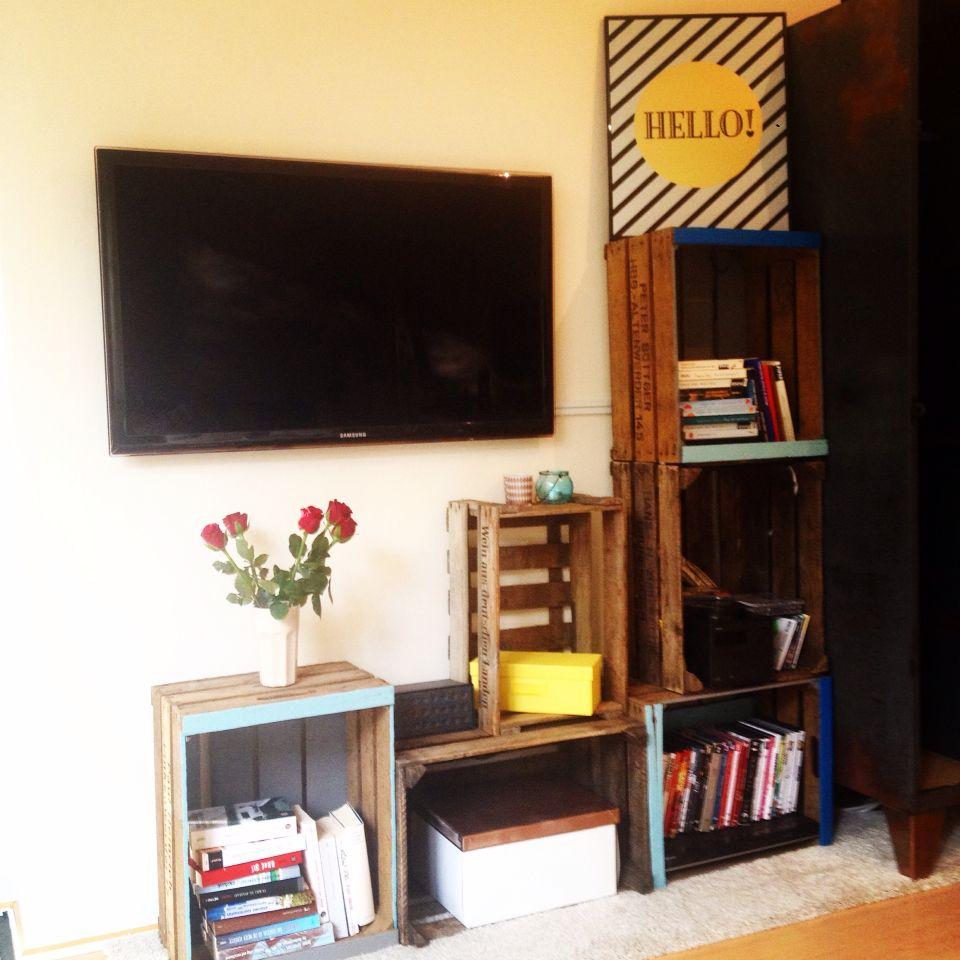 Obstkisten weinkisten diy colourful Wohnzimmer Wand tv Wand Hello ...