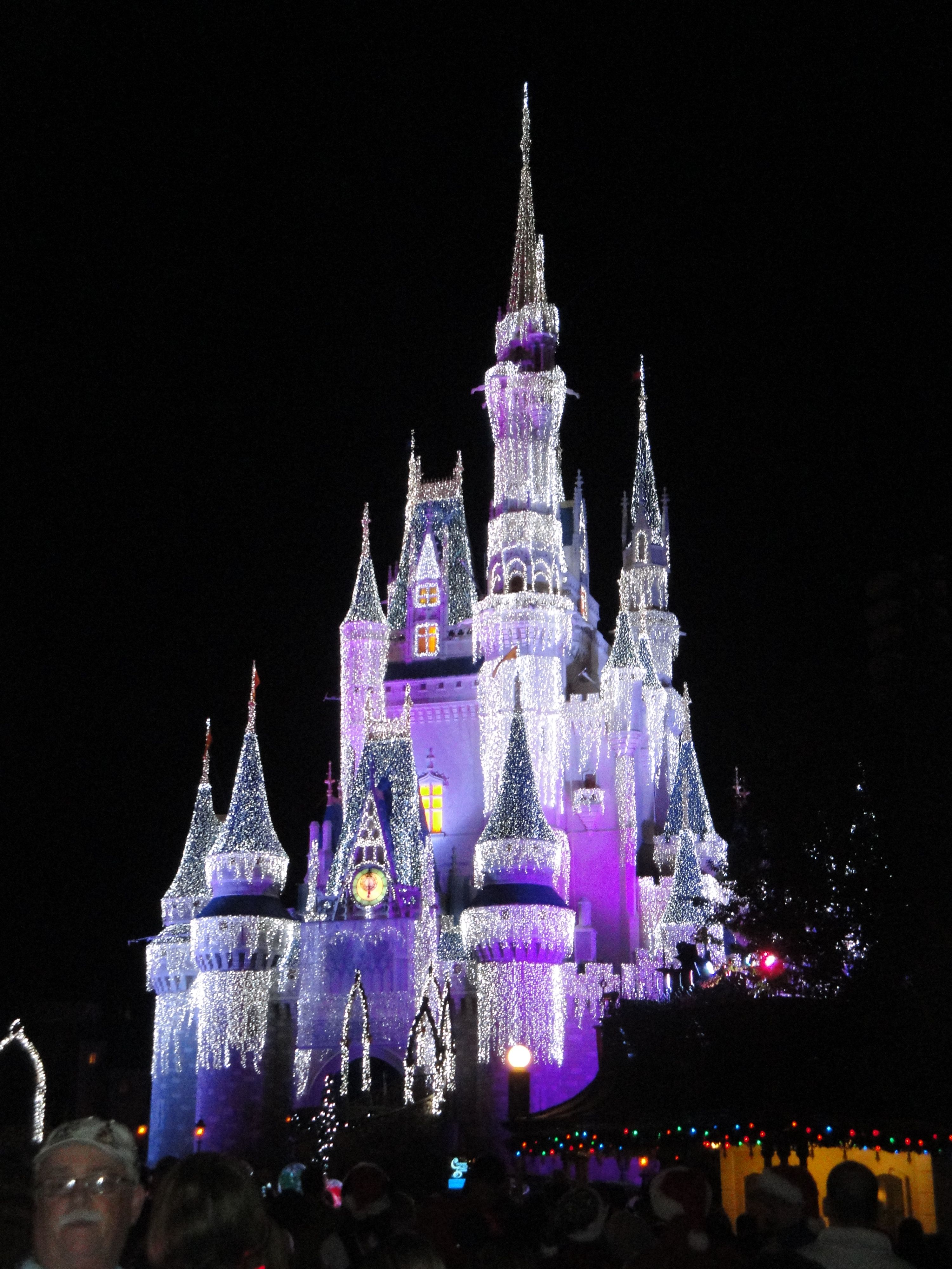 Walt Disney World's Magic Kingdom - Orlando, FL.  The castle was lit up with more than 200,000 icicle lights for 'Mickey's Very Merry Christmas Party'