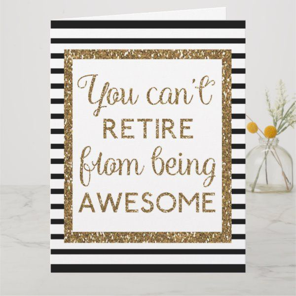 Beautiful Black Gold Glitter Happy Retirement Big Card   Zazzle.com