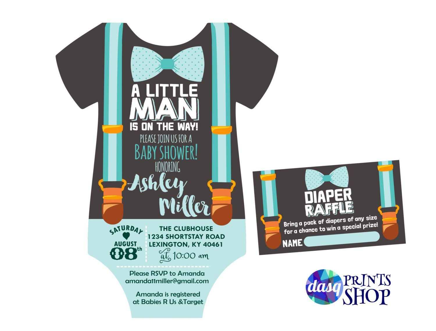 Little Man Baby Shower Invitation - Onesie Invitation - Shower ...