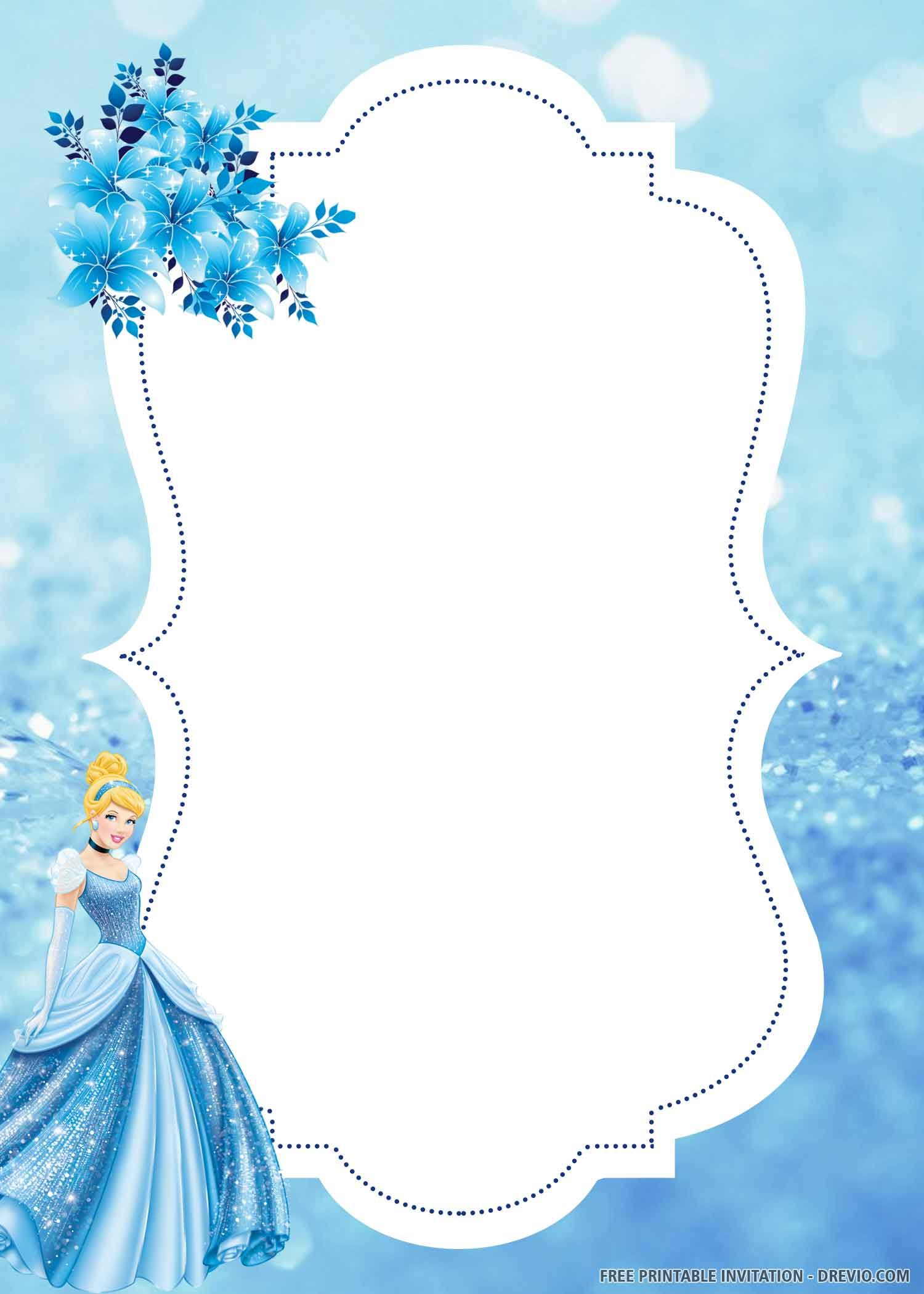Free Printable Lovely Cinderella Birthday Invitation Templates Cinderella Birthday Invitation Cinderella Birthday Cinderella Invitations