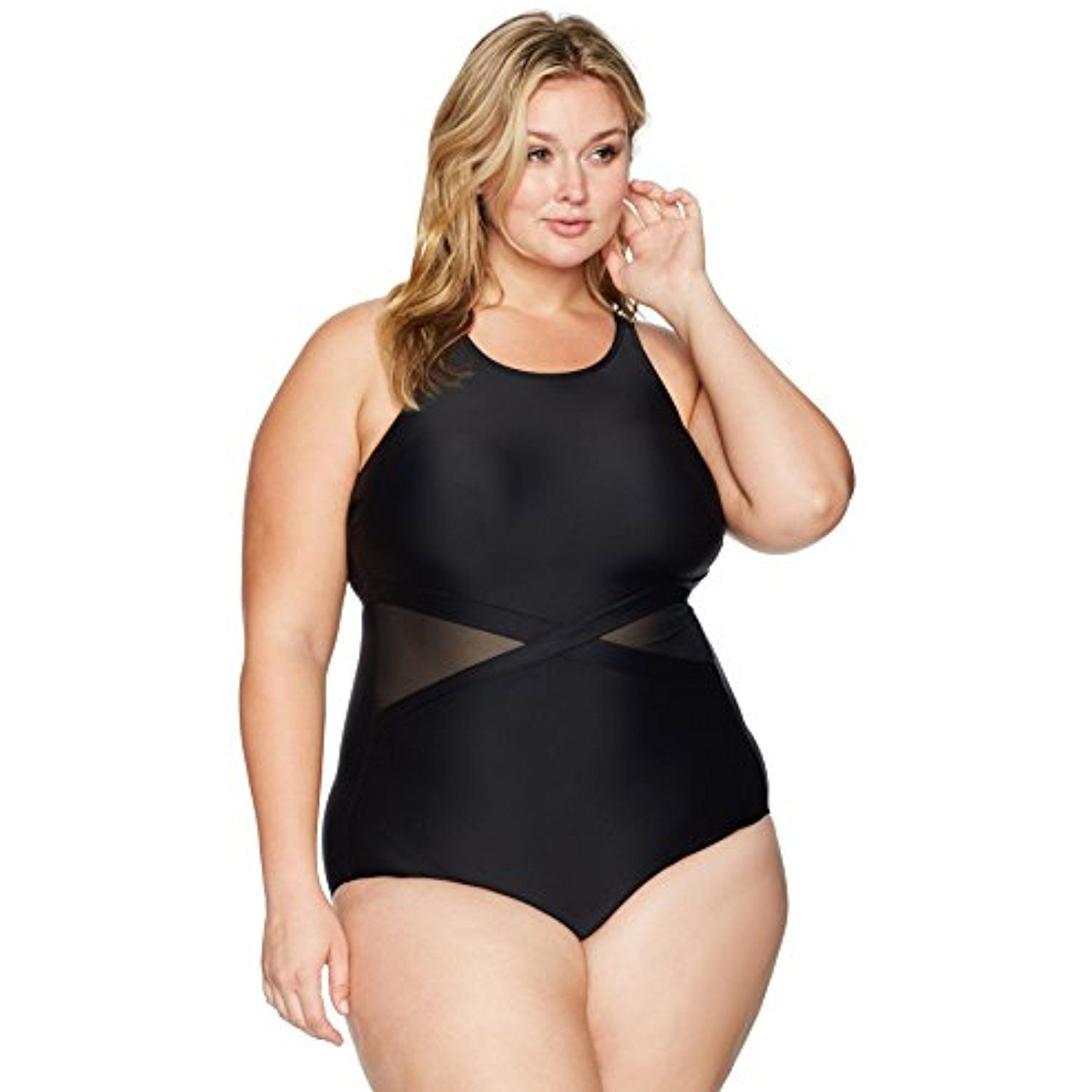 f915797841c6 Coastal Blue Women s Plus Size Active Swimwear Mesh Side One Piece Swimsuit      Be sure to check out this awesome product. (This is an affiliate link)    ...