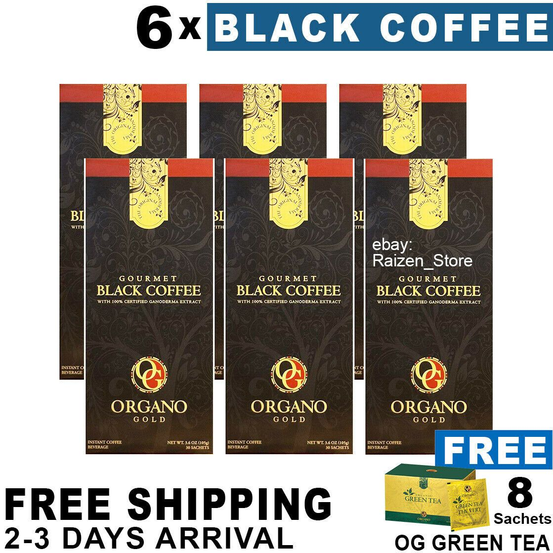 6 Boxes Organo Gold Gourmet Black Coffee 8 OG Green Tea