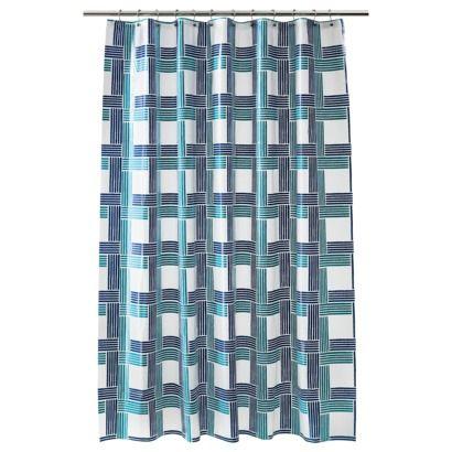Room Essentials Peva Grid Shower Curtain Blue Master Bath
