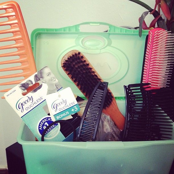 I have tons of these baby wipe tubs. Instead of recycling or trashing them I repurpose for storage. I keep my hair pins, clips, headbands and even comb and brush in one easy to carry place.