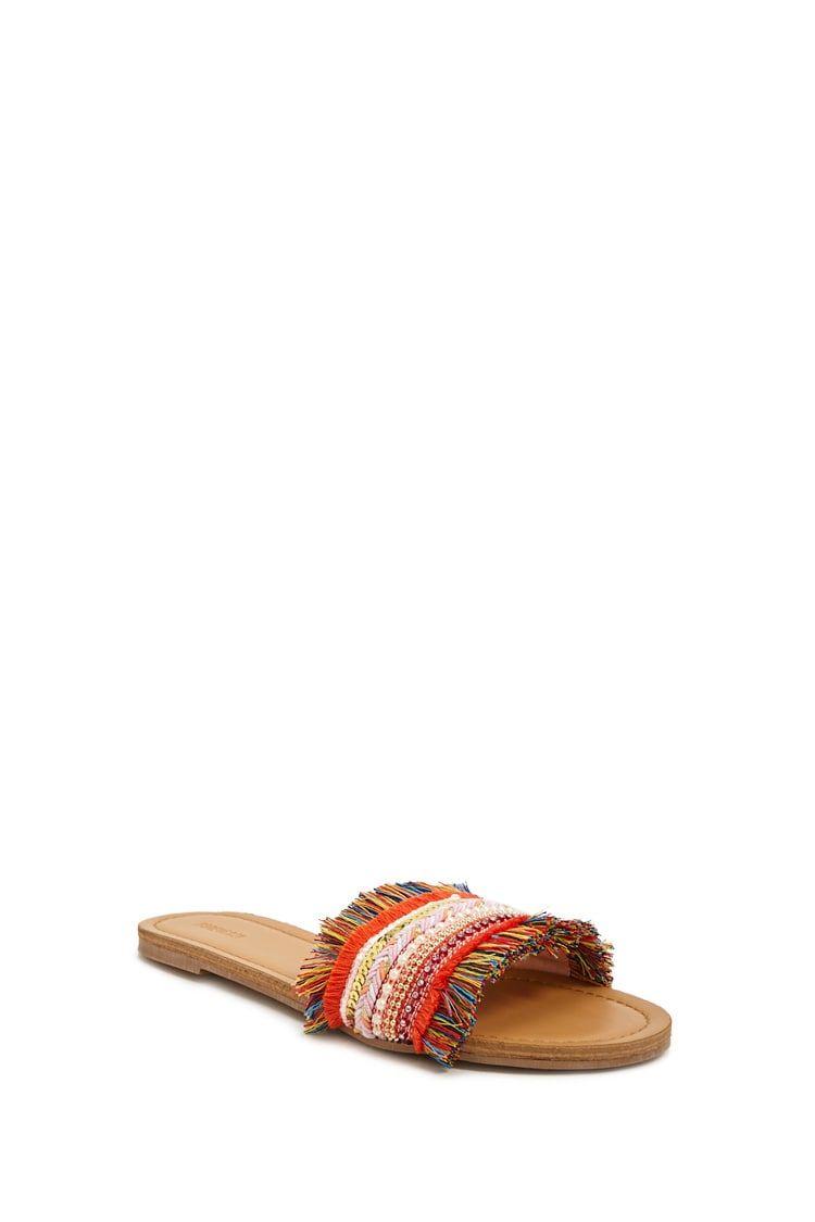 Multicolor Fringe Sandals   Forever 21