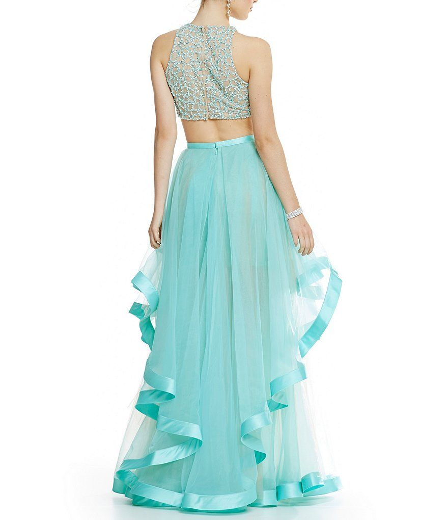 d2a6369d485 Glamour by Terani Couture High Neck Beaded Bodice Crop-Top Two-Piece Ball  Gown