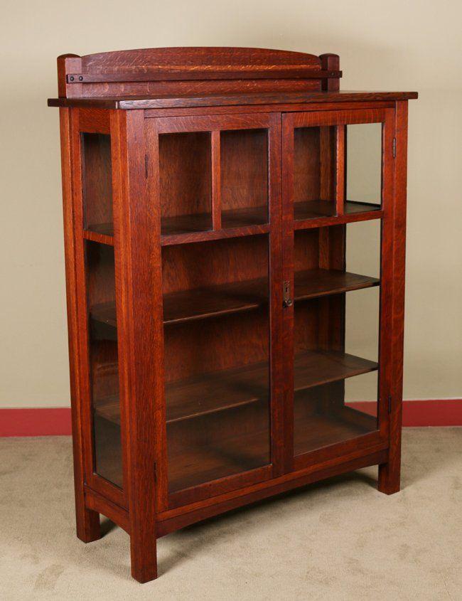 Charles P. Limbert two-door china cabinet with original push ...