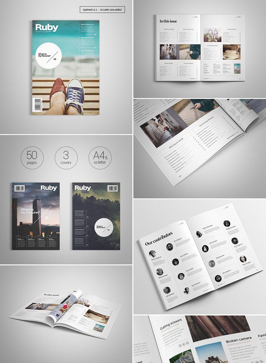 62 Pages Minimal Magazine Magazine Layout Design