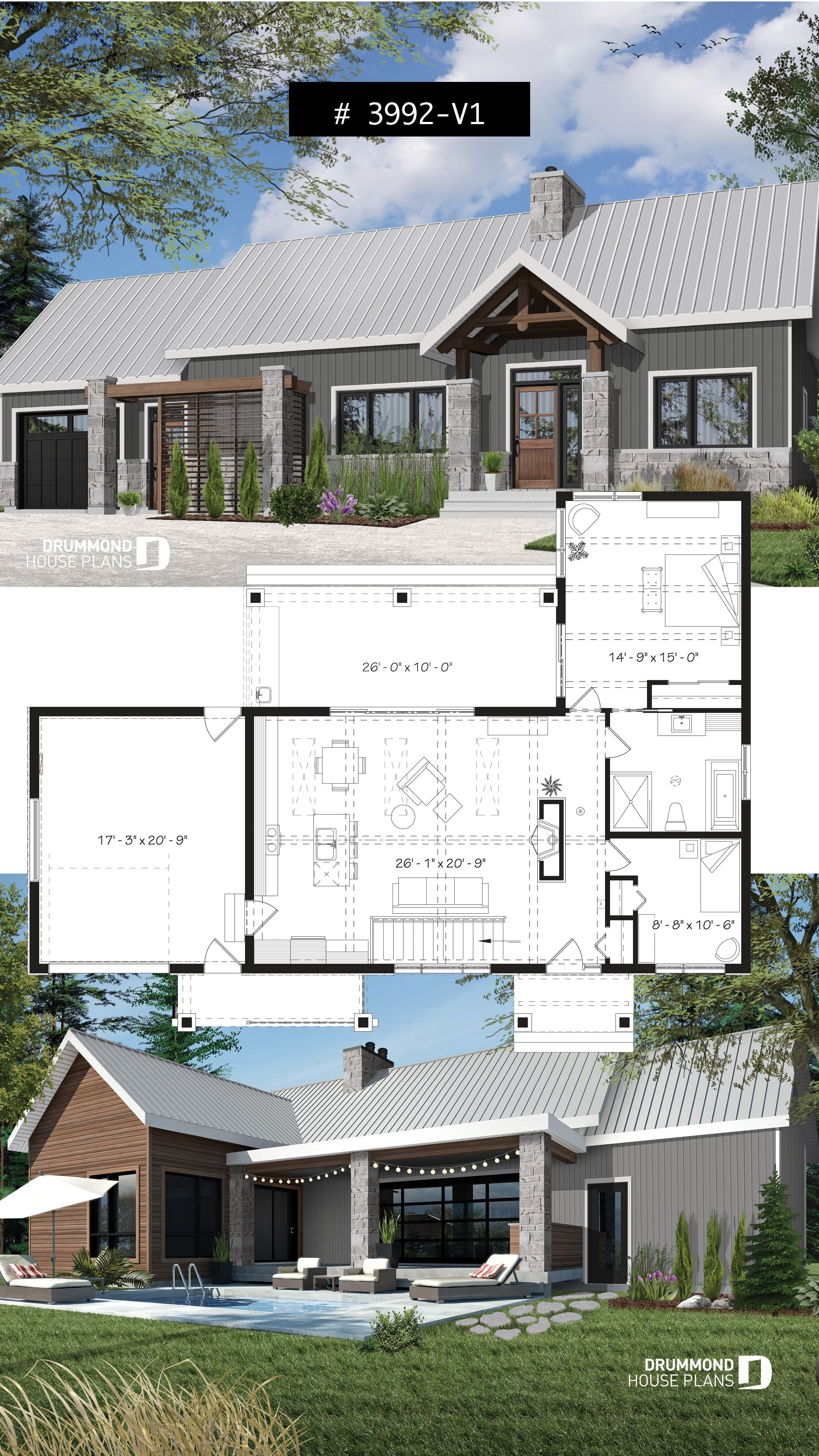Small Modern Cape Cod House Plan Cathedral Ceiling 1 Car