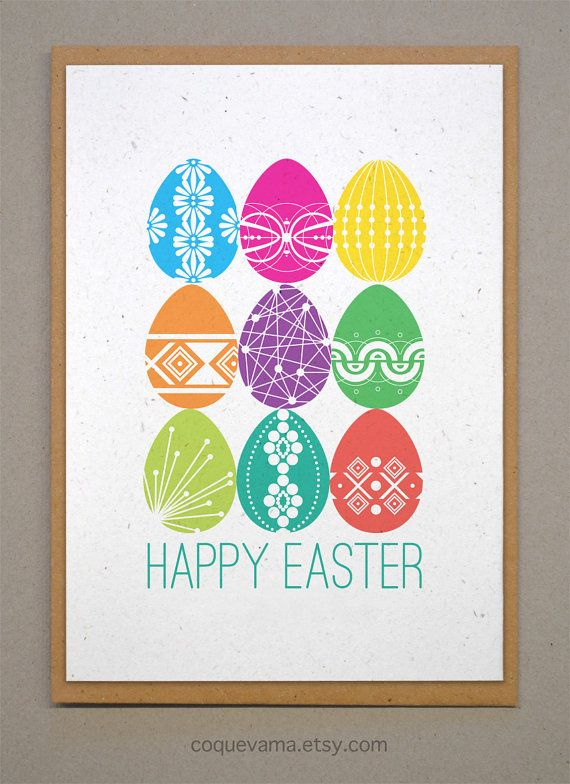 Easter Card. A6. 9 Decorated Easter Eggs.