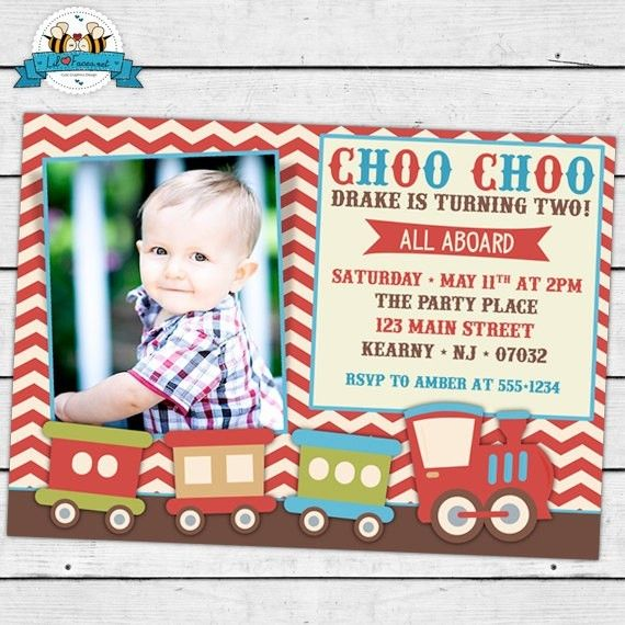vintage choo choo train birthday party photo invitation boda