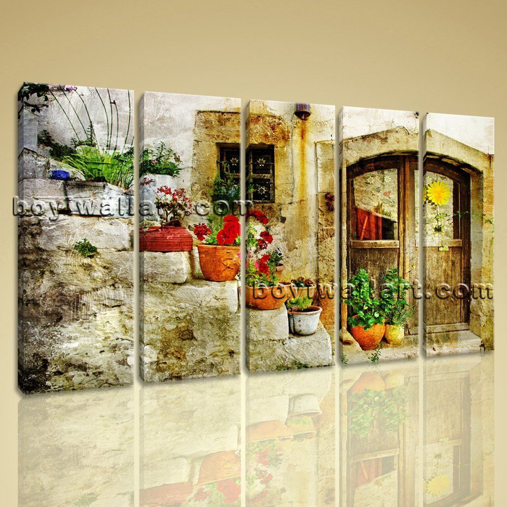 Large Greek Village Painting Abstract Retro Canvas Print Wall Decor Dining Room