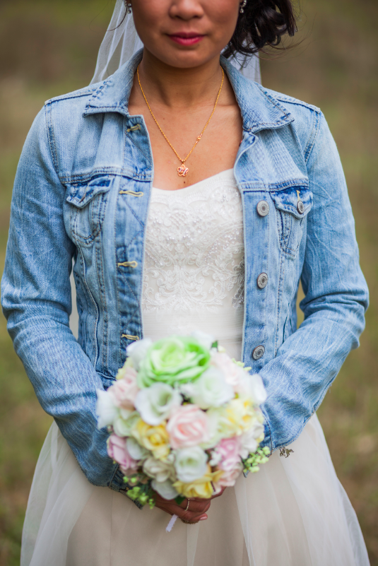 Bride & Bridesmaids In Jean Jacket At Wedding Denim