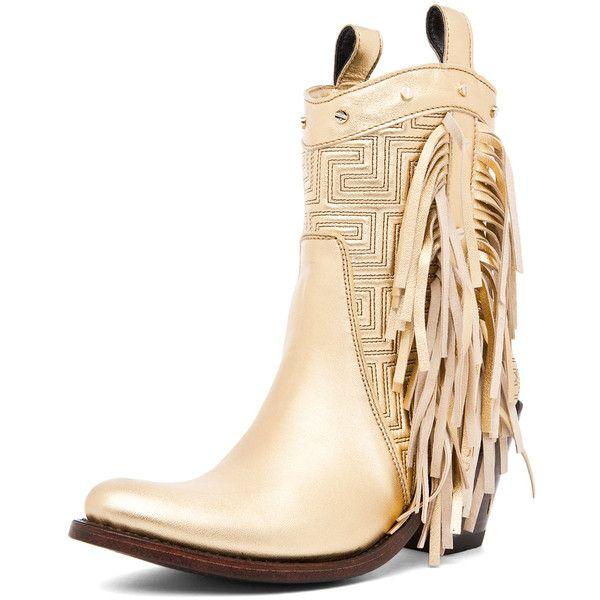 48da7166f70 VERSACE Fringe Cowboy Boot in Gold (1,415 CAD) found on Polyvore   I ...