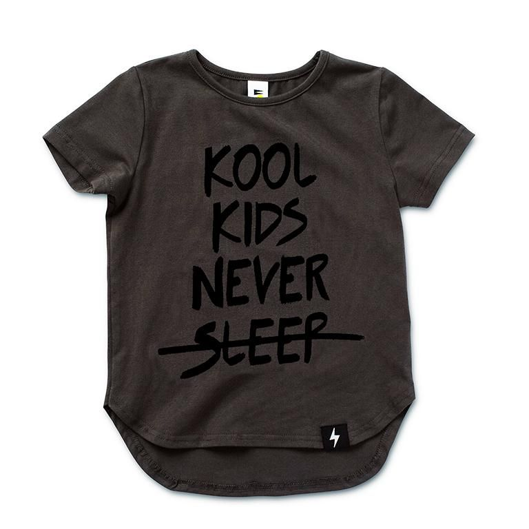 Kapow Kids Charcoal Kool Kids Never Sleep Drop Back T-shirt