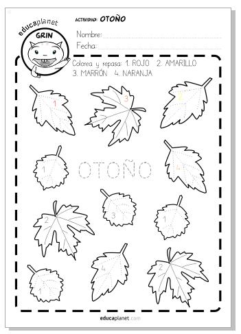 Ficha preescolar otoño - Colorea las hojas según los números | Ideas ...