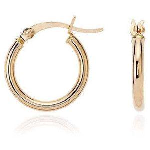 Pori 14k Yellow Gold 2x10mm Circle Hoop Earrings