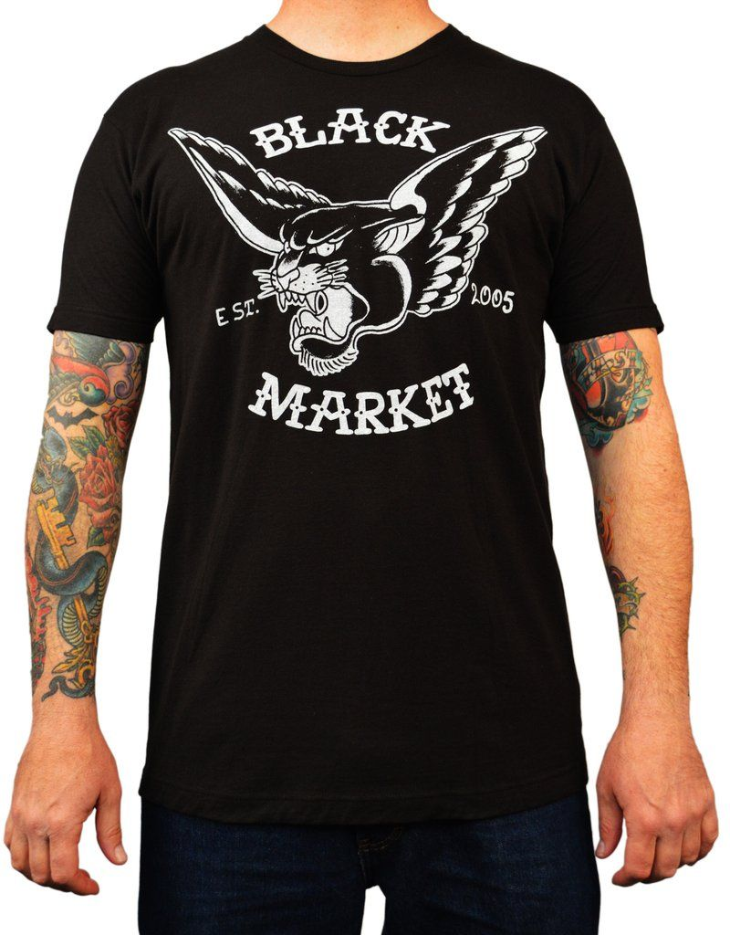 Men's Flying Panther by Adi Black Market Logo Tattoo Art Work T ...