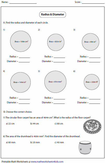 Circumference And Area Of Circle Worksheets Area Of A Circle Circle Math Circumference Activities