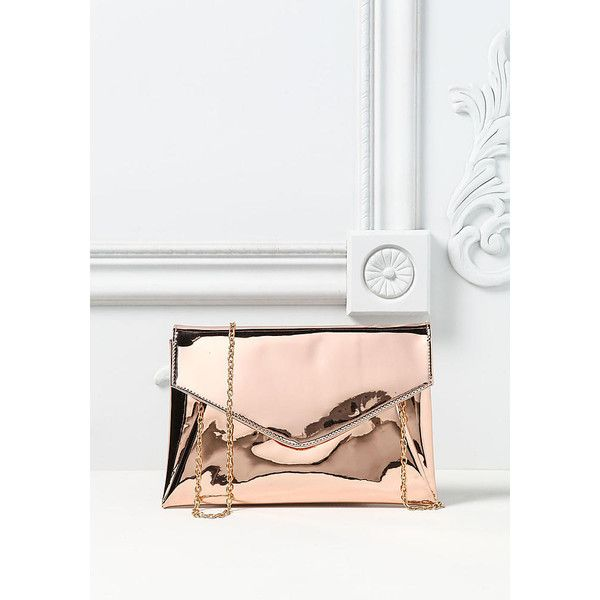 Rose Gold Chrome Clutch - New ($50) ❤ liked on Polyvore featuring ...