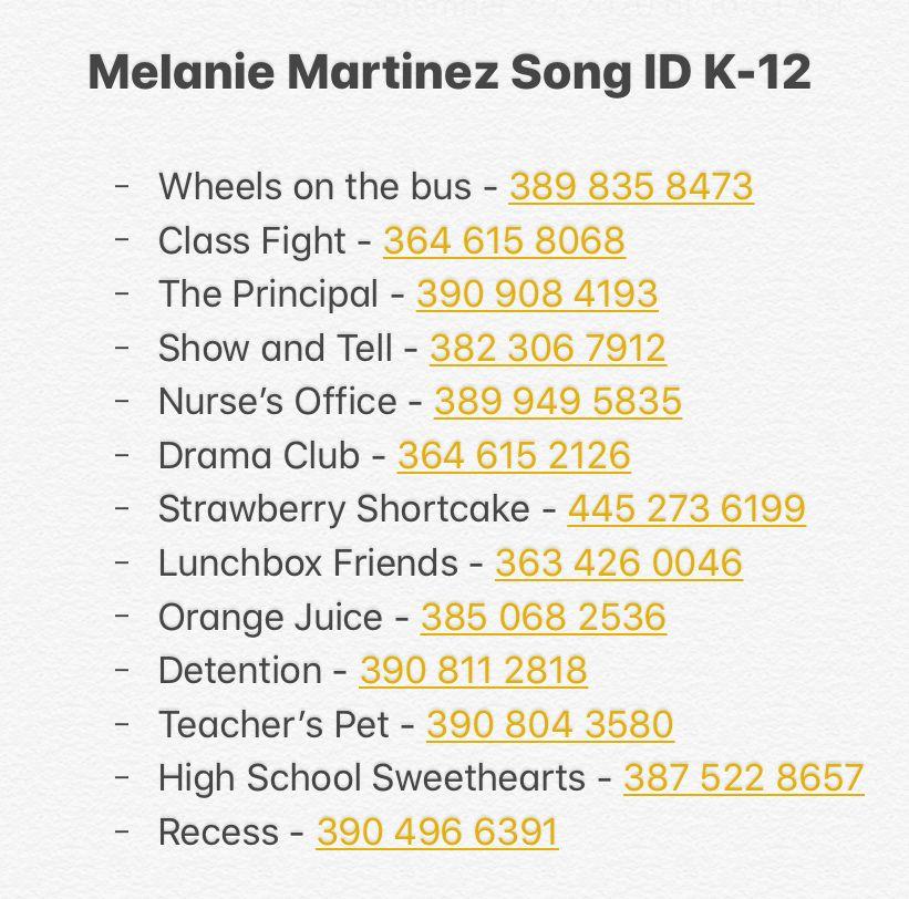 Melanie Martinez K 12 Album Roblox Id Melanie Martinez Songs Roblox Songs