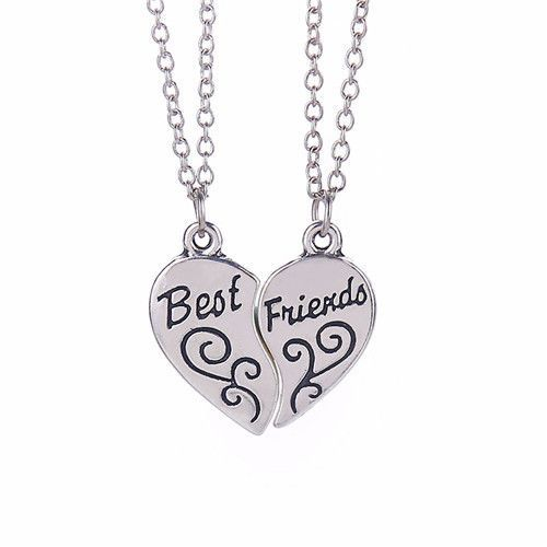 BFF Heart Necklace Split Heart Engraved White Rhinestones Pop Fashion Best Friend Necklaces Pendant