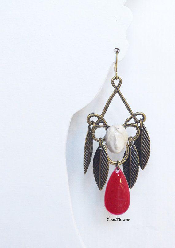 #Feather #woman #face earrings dangle / #Hippie #Boho by CocoFlowerShop
