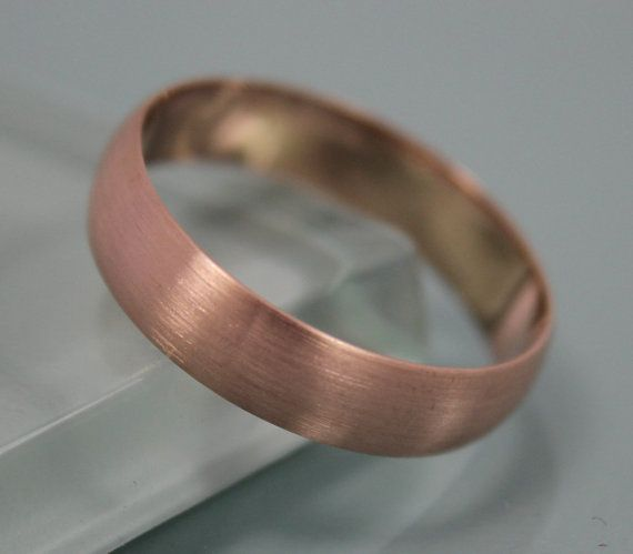 Rose Gold Ring Brushed 14k Solid 5mm Clic Men S Wedding Band Low Profile Half Round Stacking Eco Friendly Recycled