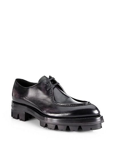 551d85296bc Prada - Runway Calfskin Lace-Up with Rubber Lug Sole - Saks.com ...