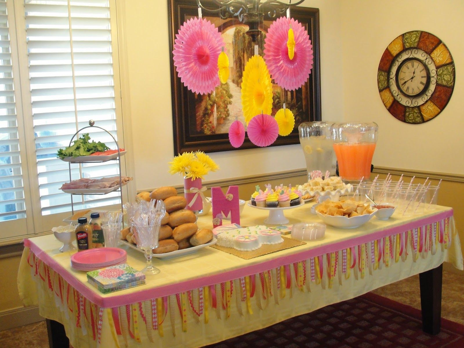 A Pink And Yellow Girl Baby Shower Lovin That Ribbon Garland Around The Table Yellow Girl Baby Shower Girl Baby Shower Elephant Baby Shower
