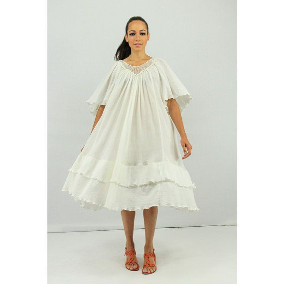 Vintage white gauze dresses